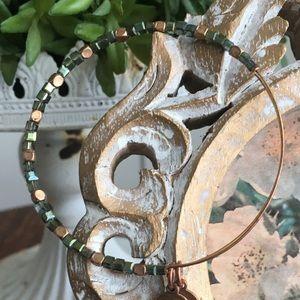 Alex & Ani Gold & Green Beaded Bangle Bracelet